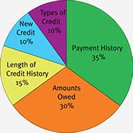 Credit score pie chart to help you improve your credit score.